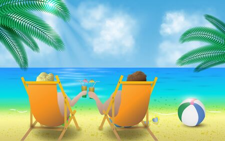 couple with cocktails on the sun loungers on the beach Illustration