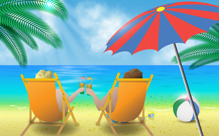 loungers: couple with cocktails on the sun loungers on the beach Illustration