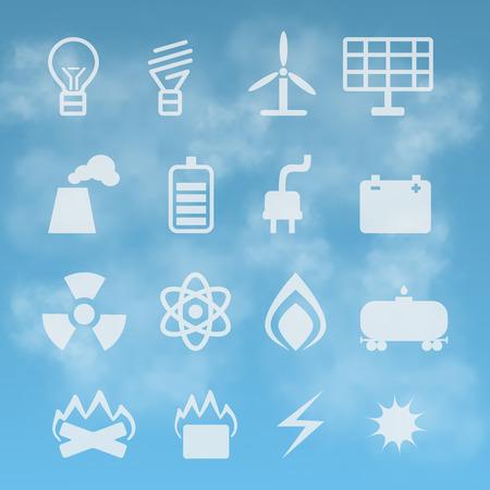 energetics: set of energetics symbols on  background of the sky Stock Photo
