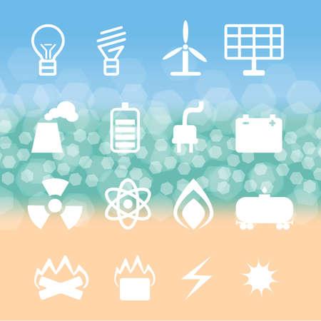 energetics: set of energetics symbols on  background of the bokeh Stock Photo