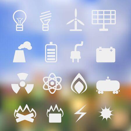 energetics: set of energetics symbols on  background of the nature bokeh Stock Photo