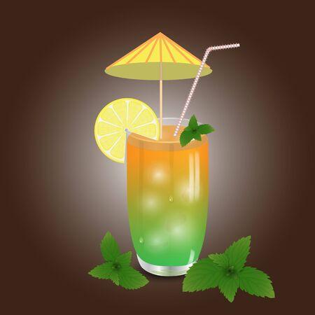 cocteles de frutas: cóctel en vidrio con la paja y el paraguas en la oscuridad