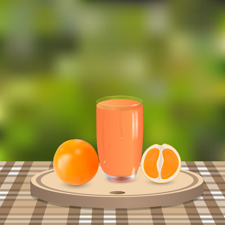 sap: oranges and juice on wooden plate in garden