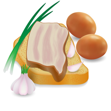 bacon art: Ukrainian national sandwich on white background