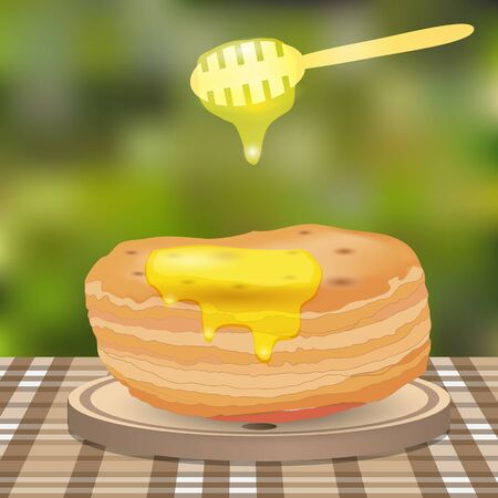 baking dish: stack of pancakes and honey on wooden plate in garden Illustration