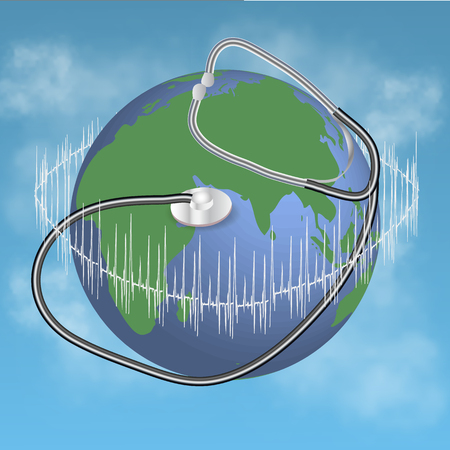 listening to heartbeat: globe with stethoscope and diagram on blue background Illustration