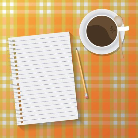 a tablecloth: vector home workspace with notebook and coffee on checkered tablecloth Illustration