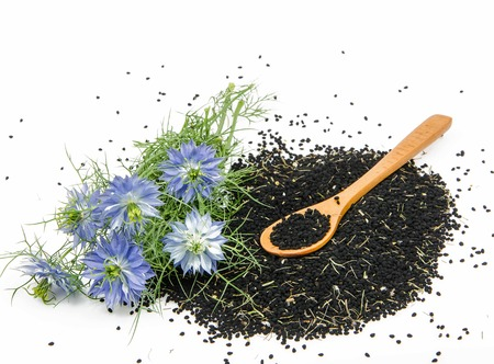 nigella seeds: black cumin on white background Stock Photo