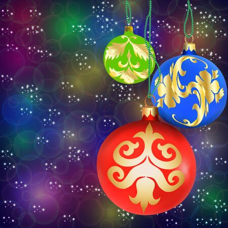 Christmas decorations and beads on bokeh background