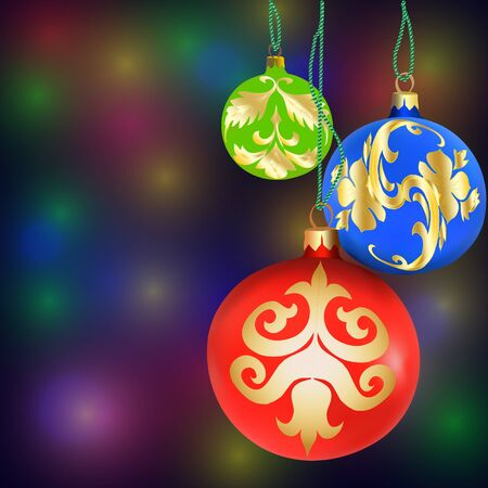 Christmas decorations on bokeh background