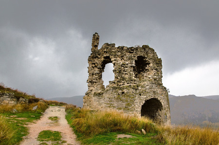 ruins of destroyed ancient castle