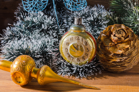 retro clock with old fashioned christmas tree decorations stock photo 90096727