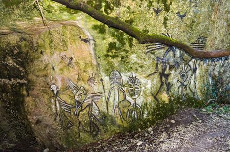 decoration as ancient petroglyphs on rock