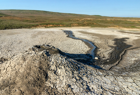 Hills of mud volcanoes in wild steppe