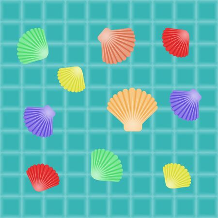 set of different seashells on water background