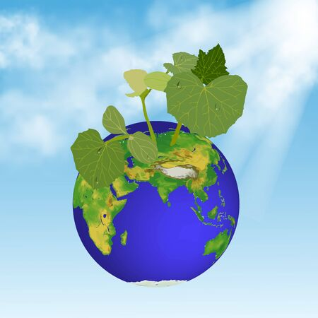young plant and earth on sky background Illustration