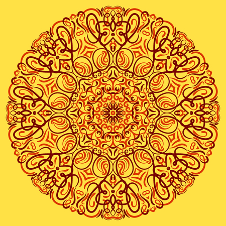 Vector Mandala with flowers ornament for background or postcard