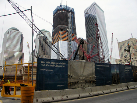 New York One World Trade Center building under construction in April 2011
