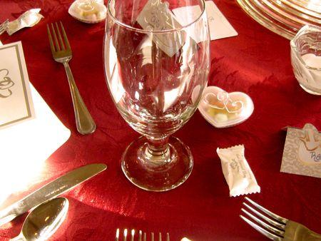 fianc: Wedding Reception Table Setting Stock Photo