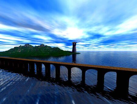 bridge to lighthouse Standard-Bild