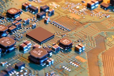Electronic circuit board close up. Banco de Imagens