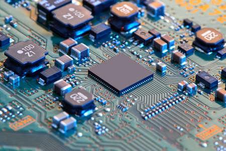 Elektronische printplaat close-up. Stockfoto