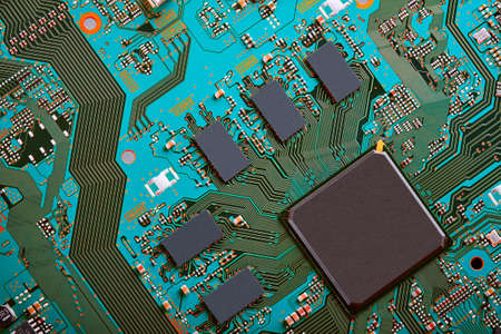 Electronic circuit board close up. Standard-Bild - 102095381