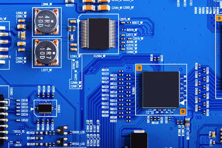 Electronic circuit board close up. Standard-Bild - 102148515