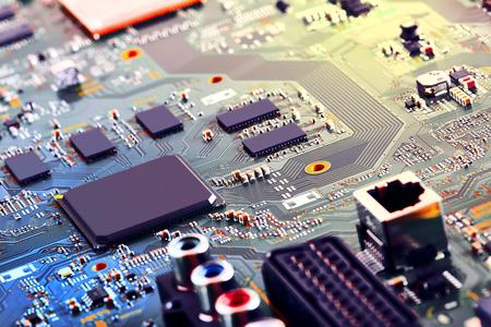 Electronic circuit board close up. Standard-Bild - 110810820