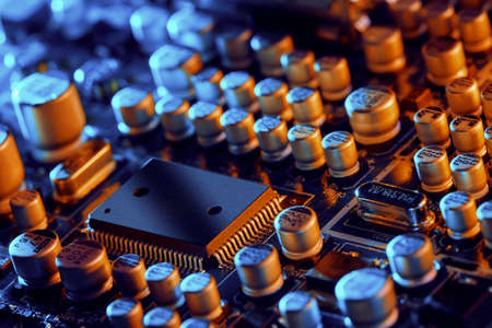 Electronic circuit board close up. Background can use the Internet, print advertising and design Standard-Bild - 158308314