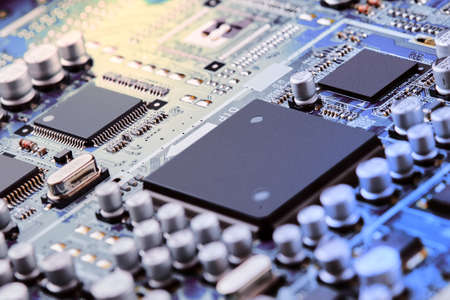 Electronic circuit board close up. Background can use the Internet, print advertising and design Standard-Bild - 158308786