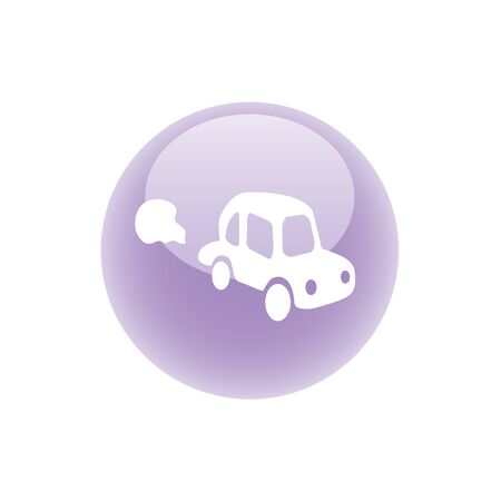 car pollution button. Stock vector illustration