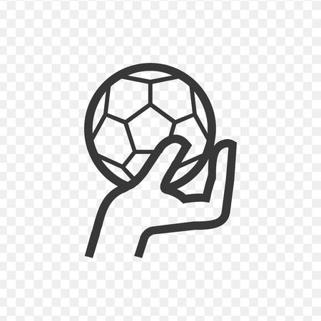 A strong hand holding a soccer football ball. Sports graphic. Stock vector illustration Ilustração
