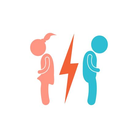 Vector divorce icon. The man and the woman near the lightning icon on white isolated background. Layers grouped for easy editing illustration.