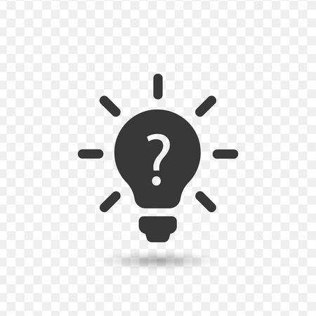 Light bulb lamp icon with question mark inside. Stock vector illustration