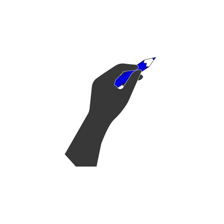 hand with pencil vector icon - black illustration