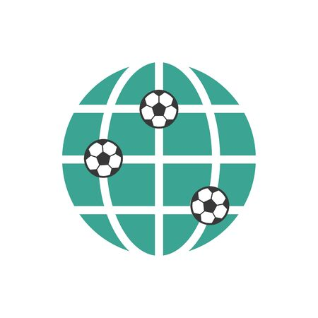 Soccer World icon. Football ball and globe. Stock vector illustration i