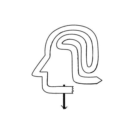 Head silhouette, brain, arrows in different directions. Education, open mind, development, creativity, decision doubt concept Flat design Vektorové ilustrace
