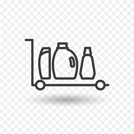 Concept of shopping: trolley with detergent,washing powder,sponge and other goods for cleaning on lbackground. Vector flat illustration Ilustracja