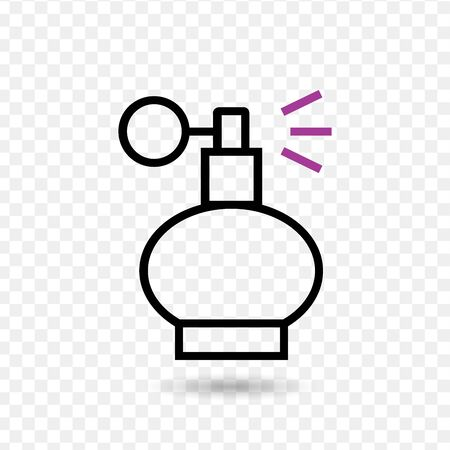 Perfume bottle sign icon. Glamour fragrance symbol. Classic flat icon. Colored circles. Vectores