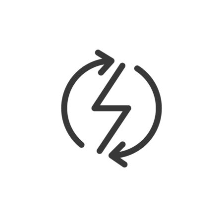 Power lightning with circle refresh arrows logo icon. Vector electric fast thunder bolt symbol. Vector illustration