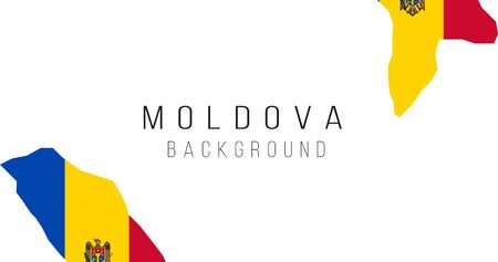 Moldova flag map background. The flag of the country in the form of borders. Stock vector illustration Vectores