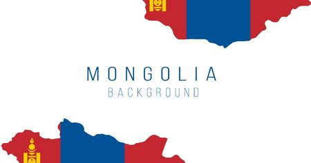 Mongolia flag map background. The flag of the country in the form of borders. Stock vector illustration