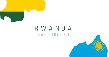 Rwanda flag map background. The flag of the country in the form of borders. Stock vector illustration