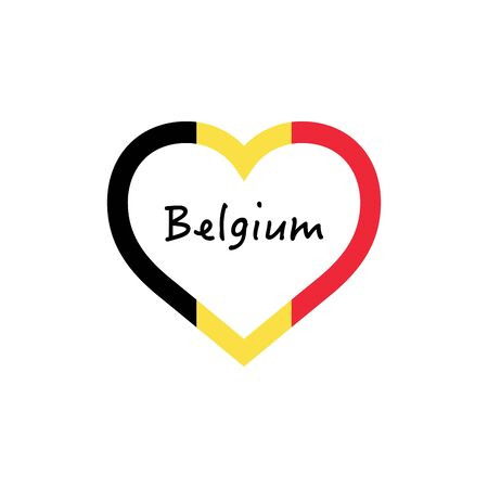 Belgium flag in heart. I love my country. sign. Stock vector illustration
