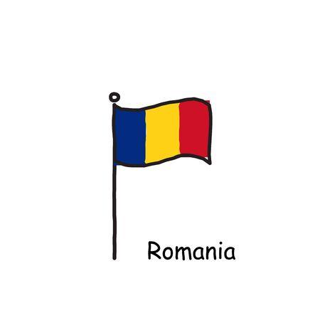 hand drawn sketchy Romania flag on the flag pole. three color flag . Stock Vector illustration Ilustracja