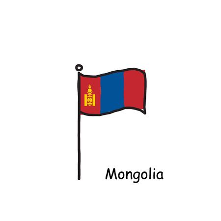hand drawn sketchy Mongolia flag on the flag pole. three color flag . Stock Vector illustration 矢量图像