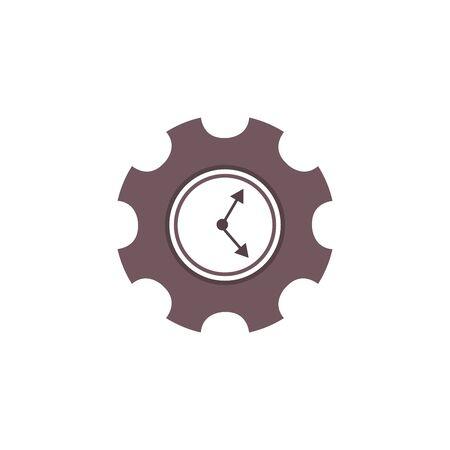 Clock gear flat icon. Stock vector illustration Illustration