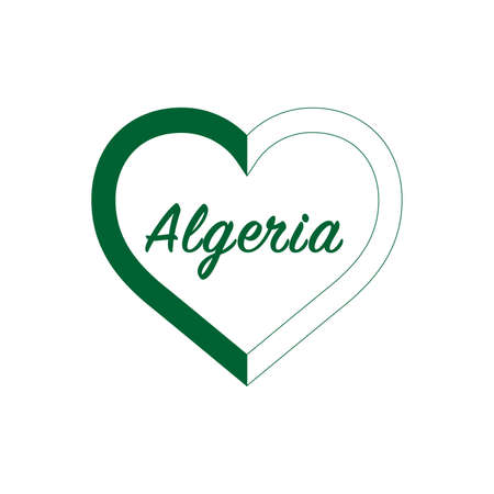 Algeria flag in heart. I love my country. sign. Stock vector illustration isolated on white background. 写真素材 - 150583358