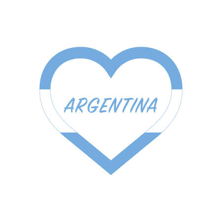 Argentina flag in heart. I love my country. sign. Stock vector illustration isolated on white background. 写真素材 - 150583359